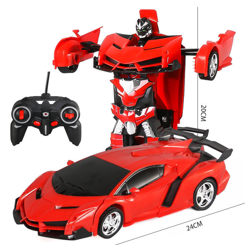 Transform Toys For Child Robot Remote Control Car One Button into Robot Electric Kids Car 360 Degree Rotating Cars Toys