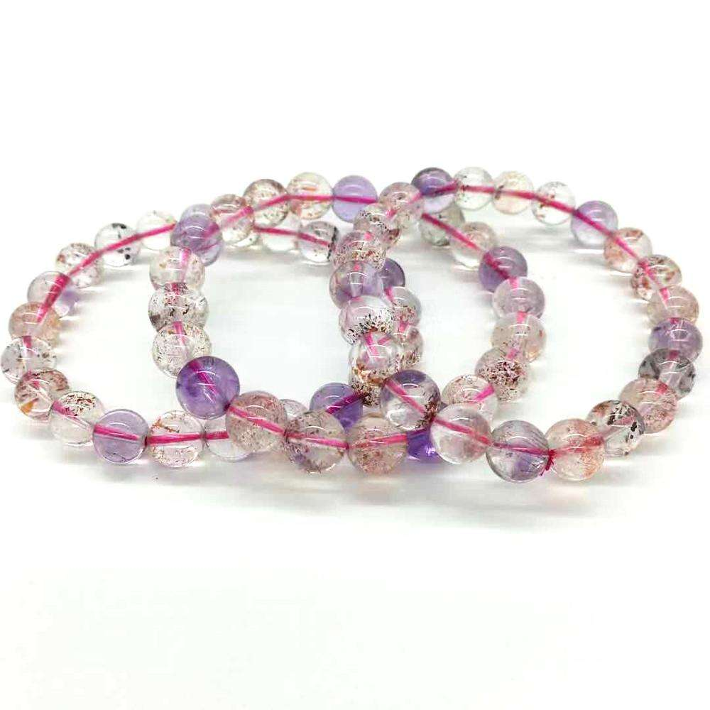Factory Wholesale Jewelry Custom Super Seven Crystal Natural Stone 10mm 8mm Gem Rose Quartz Stretch Crystal Bracelet for Women