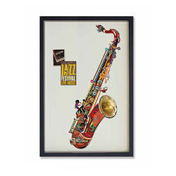 Modern home decor Sax paper Collage frames wall painting art