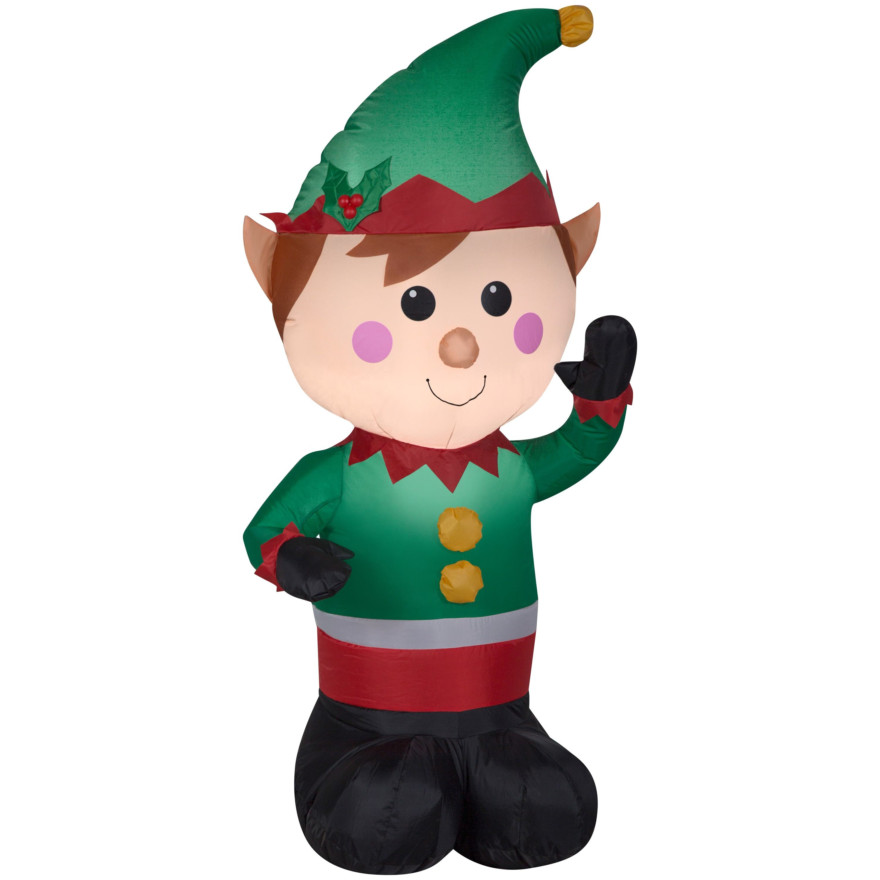 LED yard art decoration 4 foot tall lighted christmas inflatable elf for sale