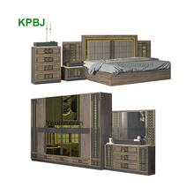 Turkish Style 6 Pieces King Size Golden Bedroom Suites Luxury Bedroom Furniture Set