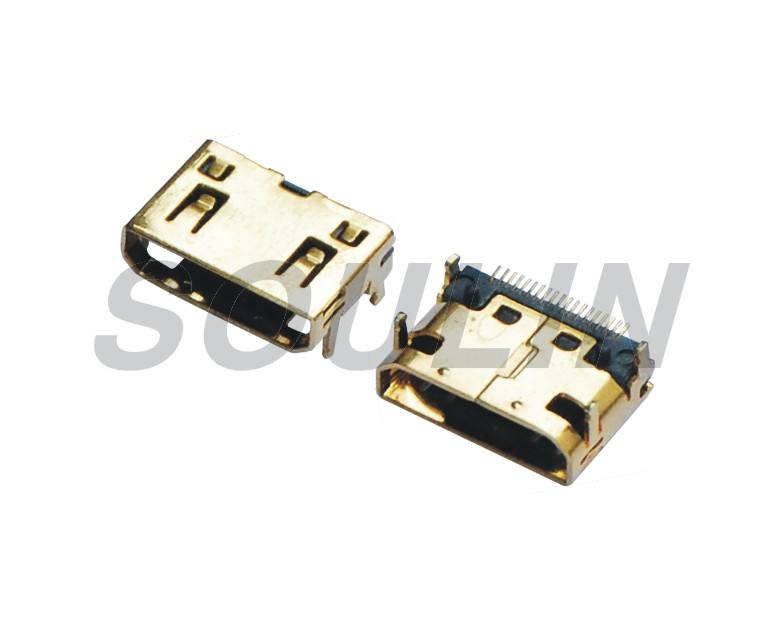 Smt 19p Mini Hdmi Connector For PCB HDMI connector solderable