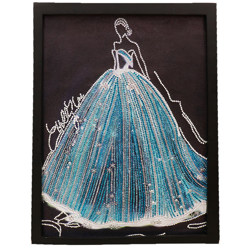 Crystal wedding dress diamond painting part with attached diamond 3D special shape diamond painting