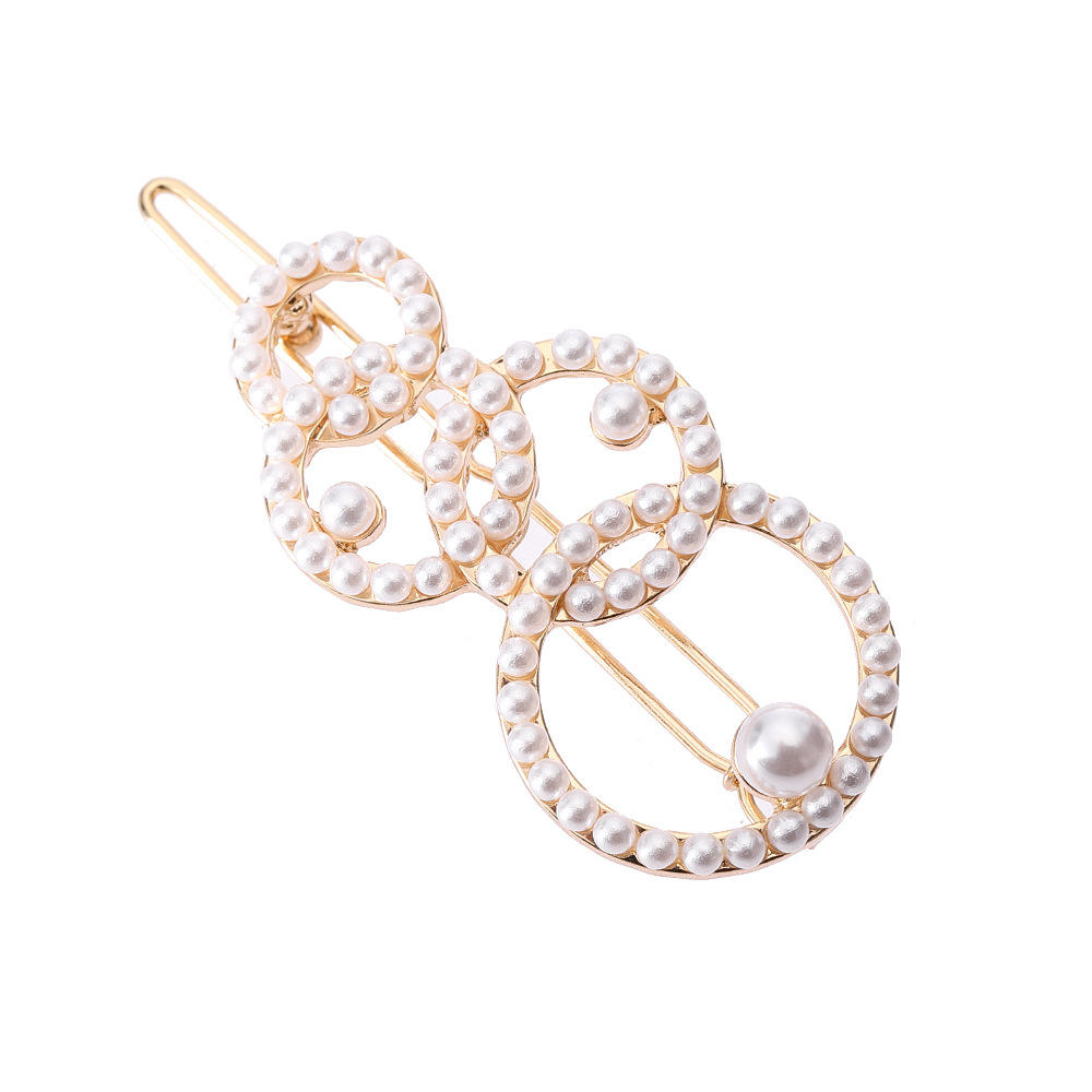 INS style creative pearl crystal metal hair clip accessories girls circles hair clips for women