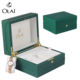 Classic Plastic Watch Box Small MOQ China Manufactory Wholesale Classic Green PU Leather Plastic Watch Packaging Box Custom Logo Accepted