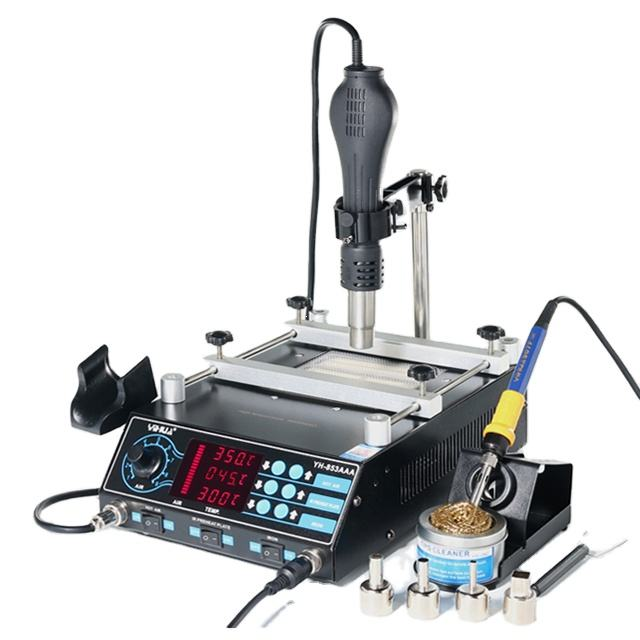 YIHUA 853AAA 3 in 1 digital SMD soldering desoldering hot air gun preheat BGA rework soldering station