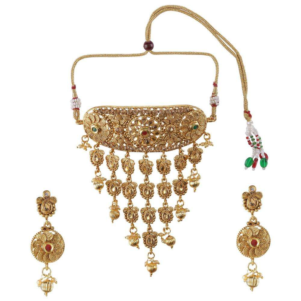 Efulgenz Indian Bollywood Traditional 14 K Gold Plated Kundan Pearl Wedding Tassel Choker Necklace Earrings Jewelry set