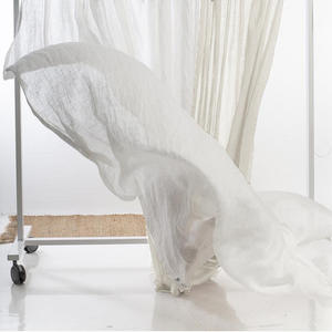 Wholesale Muslin Window Long Organic Gazebo Balcony Curtain Transparent Tulle Linen Voile Gauze White Sheer Curtain Fabric