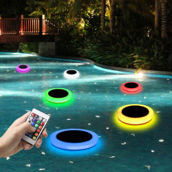 solar with battery floating underwater led swimming pool lights