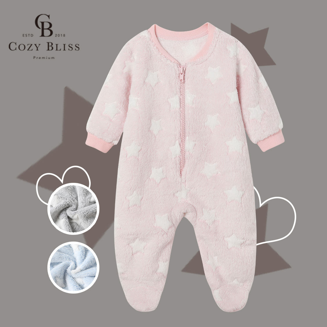 Cozy Bliss Baby Rompers footie baby Pajamas knitted infant onesie baby sleep wear
