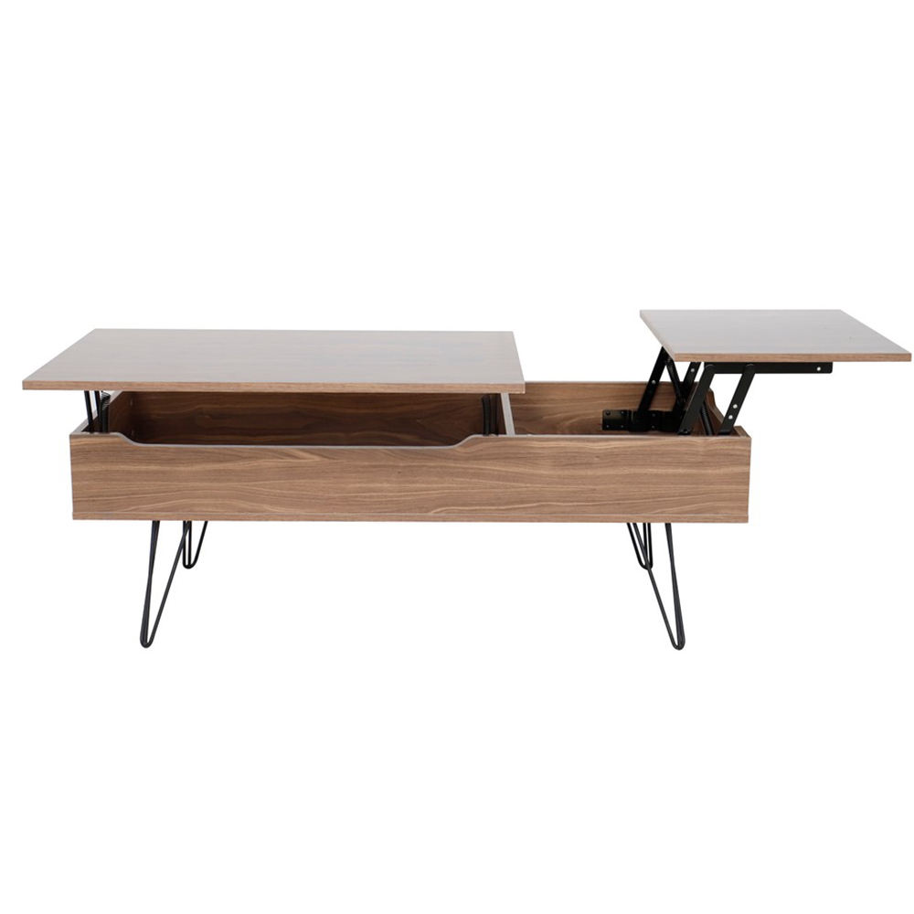 Living room furniture modern wood multifunction adjustable extendable pop up lift top center coffee table with metal legs