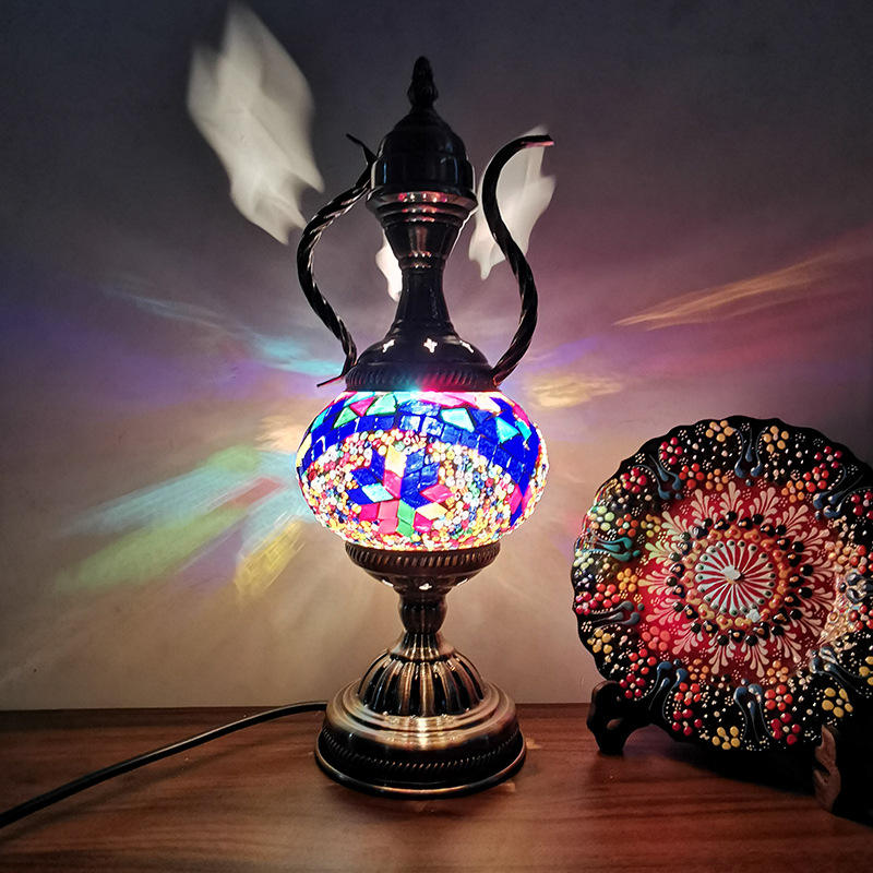 Exotic customs Turkish Vintage Glass Lamp Decorative Table Lamp Pot Light Coffee Pot The Night Light mosaic turkish lamps
