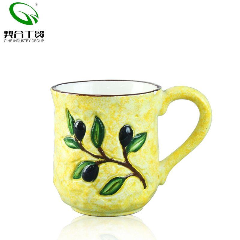 Custom Logo 550ml Retro Office Coffee Ceramic Mug Travel Cup Copper Inlay Carving Relief Mugs Milk Tea Cup