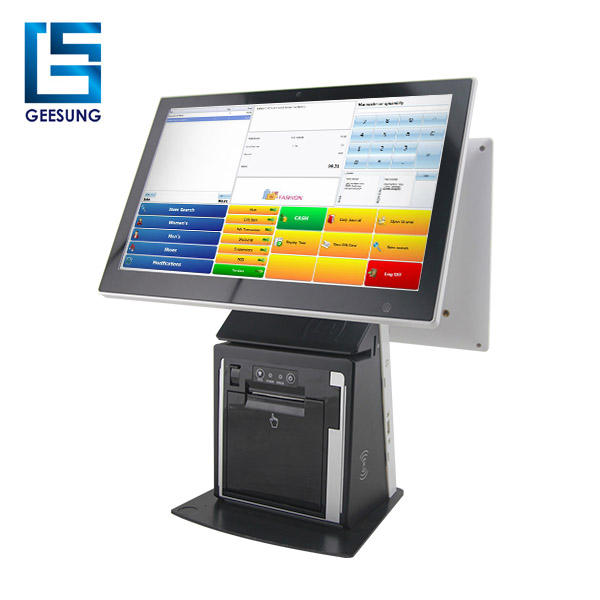 15.6 Inch Android Dual Touch Screen All In One PC POS Terminal With Printer For Fast food Restaurant