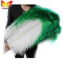Leading Supplier ZPDECOR Wholesale 70-75 cm Large White Ostrich Feathers with Green Tip for Spanish Carnival Costume