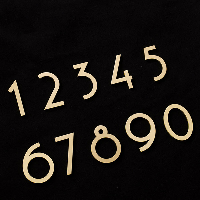 Brass House Numbers Letters Pure Brass Villa Hotel Room Number Digital Company Dormitory Home Without Punching HD-0175