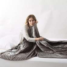HLB-TF Portable Electrical Warming Blanket Plain Dyed Solid Grey Flannel Electric Over Blanket