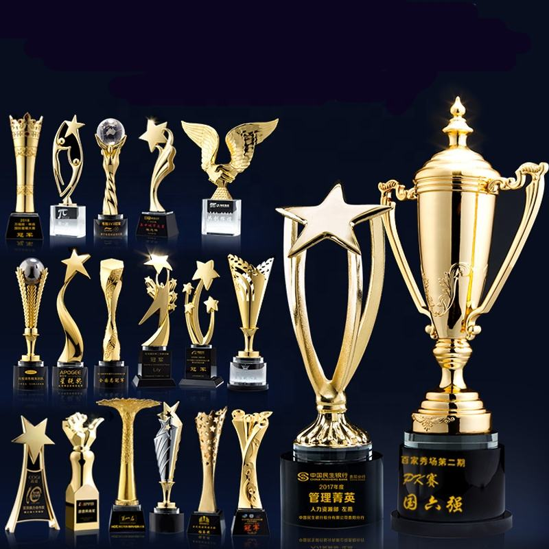 Wholesale Custom Metal Trophy Cups Gold Sport Trophy Metal For Competition