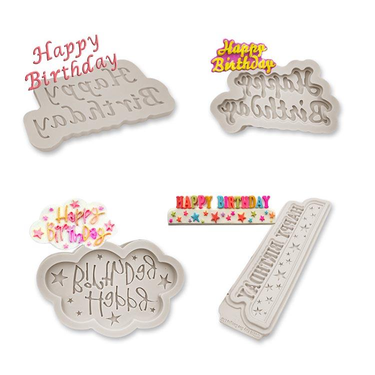 Food grade Decoration Chocolates Happy Birthday Plaque Silicone Molds for DIY baking cake, Cake decorating tools baking