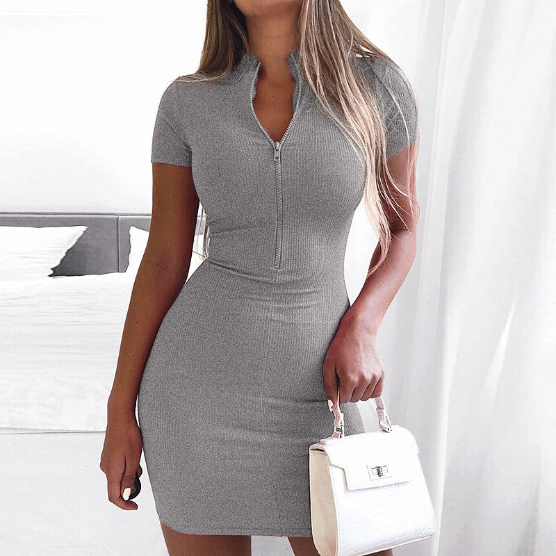 2020 Summer Women Dress with zipper 5 colors Sexy Club Halter 2 PCS Dress Top woman Dress