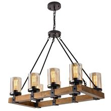 EEA 8-Light Rectangular Vintage Industrial Farmhouse Rectangle Blown Glass Wooden Chandelier Pendant Lighting