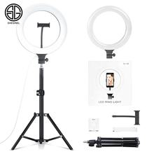 "Sheginel 10"" LED Photography Ring Light Dimmable 3500K-8500K Lamp Light Ring Kit For Video YouTube Live TIK TOK"