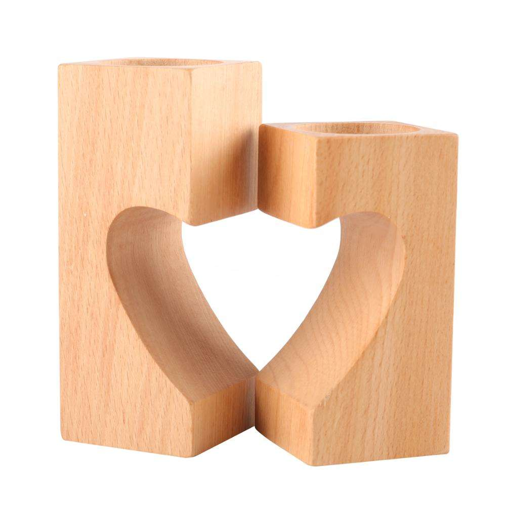 Set of 2 Home Decor Heart-shaped Romantic Cute Decorative Wood Tea Light Candle Holders