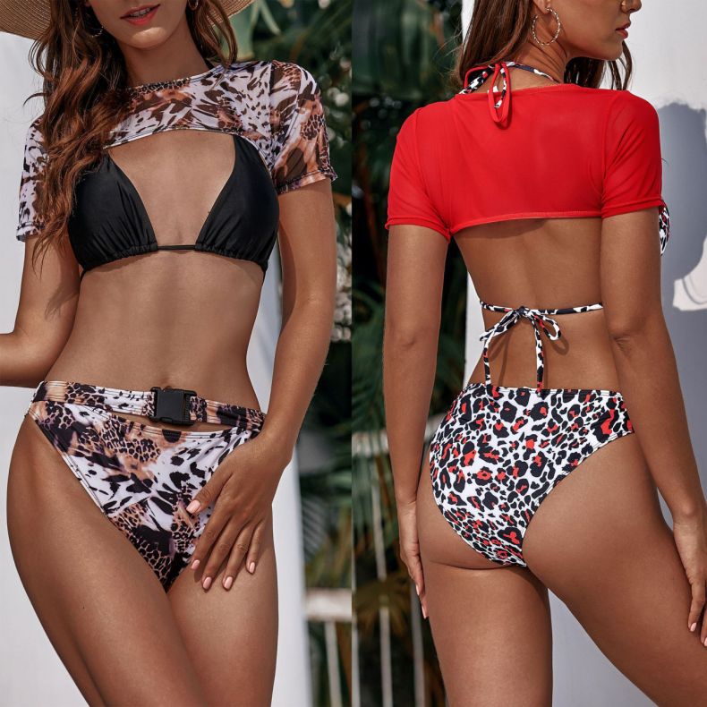 Lace-up Design Leopard Print Halter Bikini Set Black Top Triangle with Beach Cover up Swimsuit