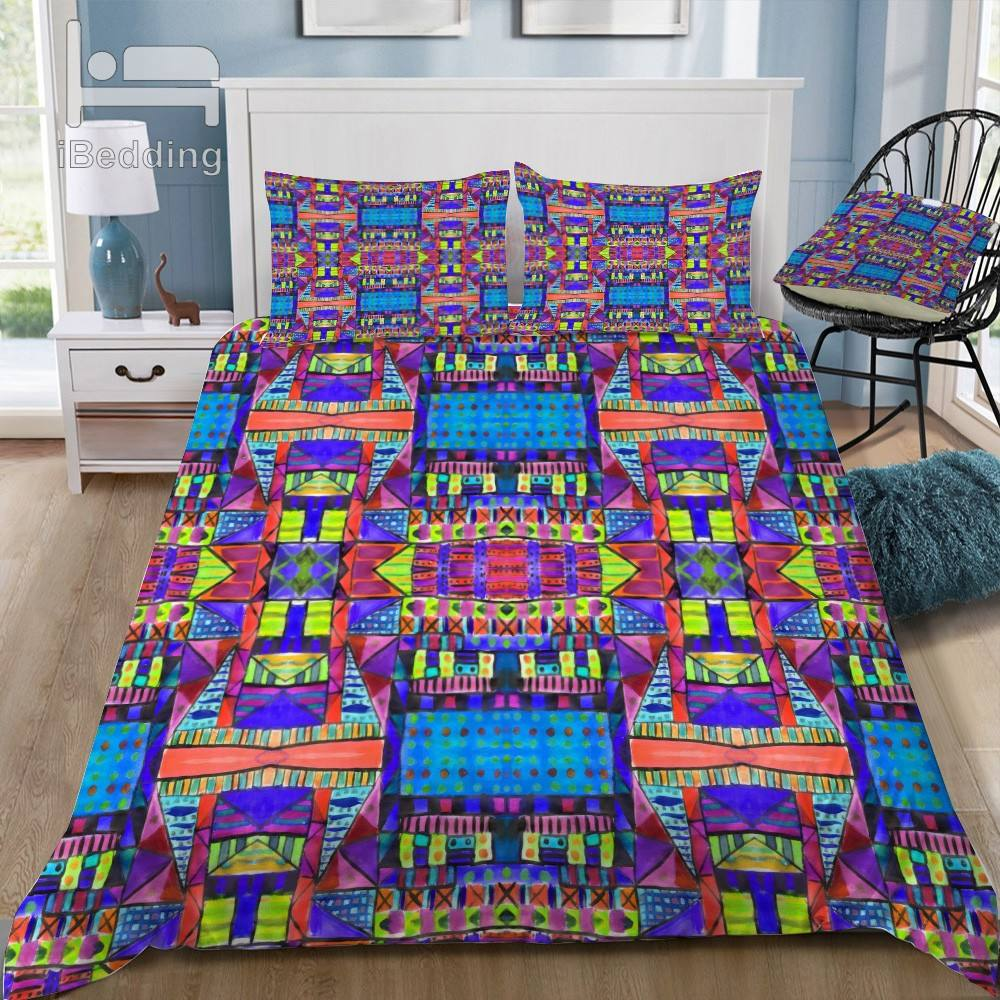 Tribal Patchwork 2 Blue Bedding Set jacquard fabric for mattress bedding