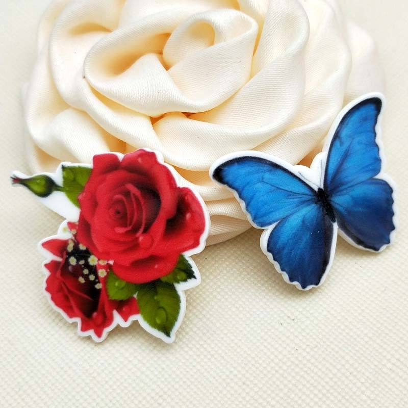 Mixed Cartoon butterfly Flatback Resin Planar rose flower Cabochon for Halloween DIY Craft 1.2inch