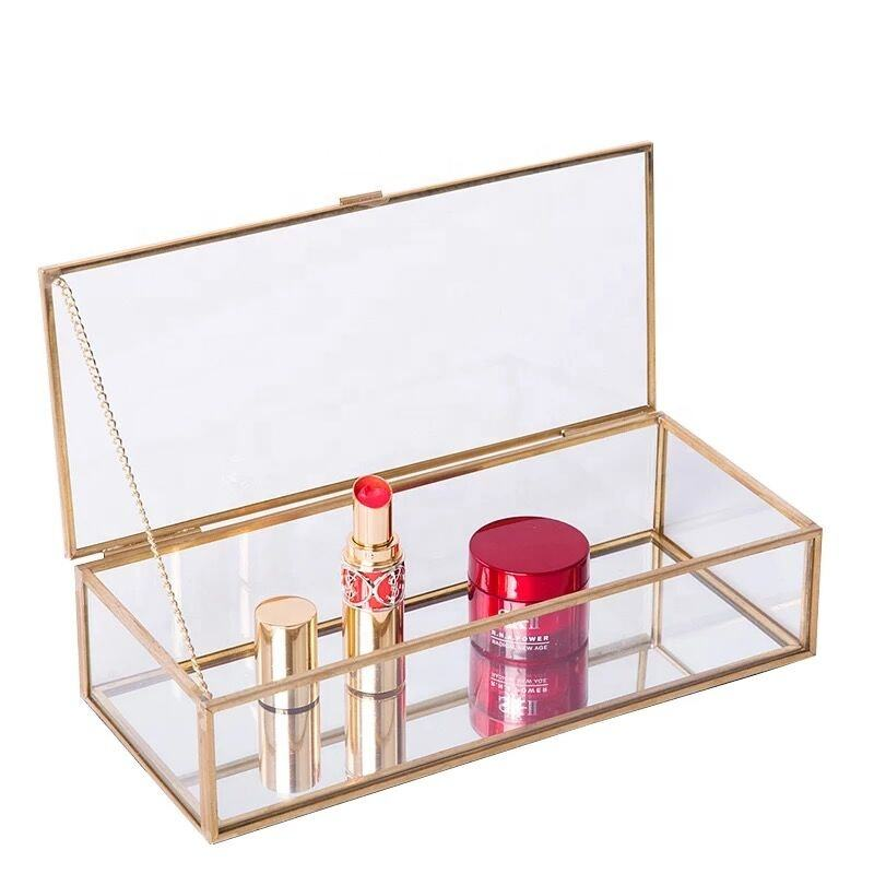 Glass Brass Display Box Exquisite Wedding Gift Storage Jewel Box Jewelry Jewel Box Glass