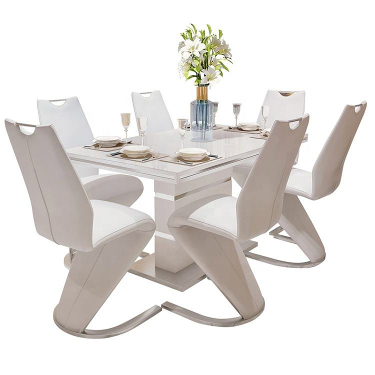 Modern High Quality MDF Extending round Dinning Room Set Extendable 6/8 Seat Dining Table and Chairs Adjust to square table