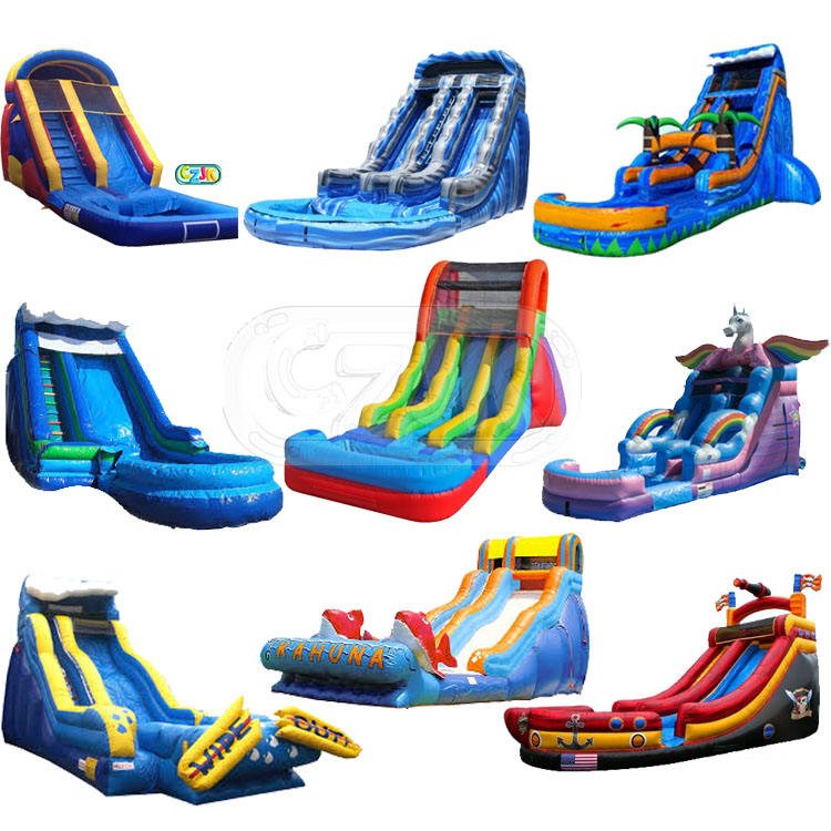 big commercial water pool inflatable waterslide with pool
