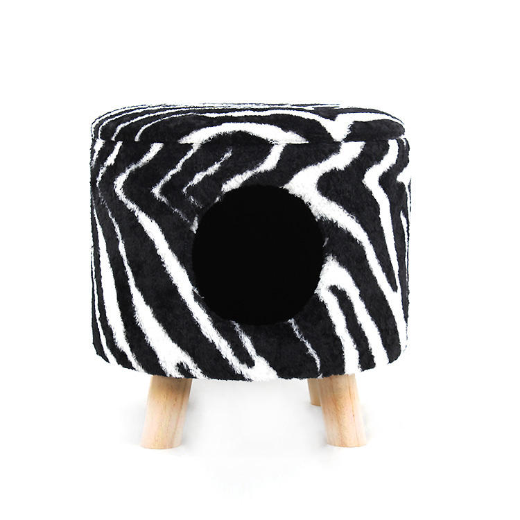 Faux Fur Modern Cat Ottoman Chair Cave Nest for dogs Removable Cover Pouf Footrest Stool Easy to Carry