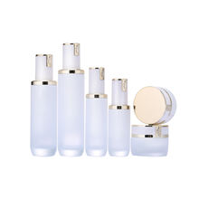 New Design White Cosmetic Bottles And Jars With Pump 40ML 120ML Skin Care Packaging Sets Glass