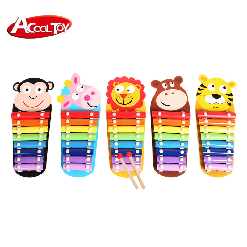 OEM ODM interesting wooden animal mini xylophone for kids educational musical toy