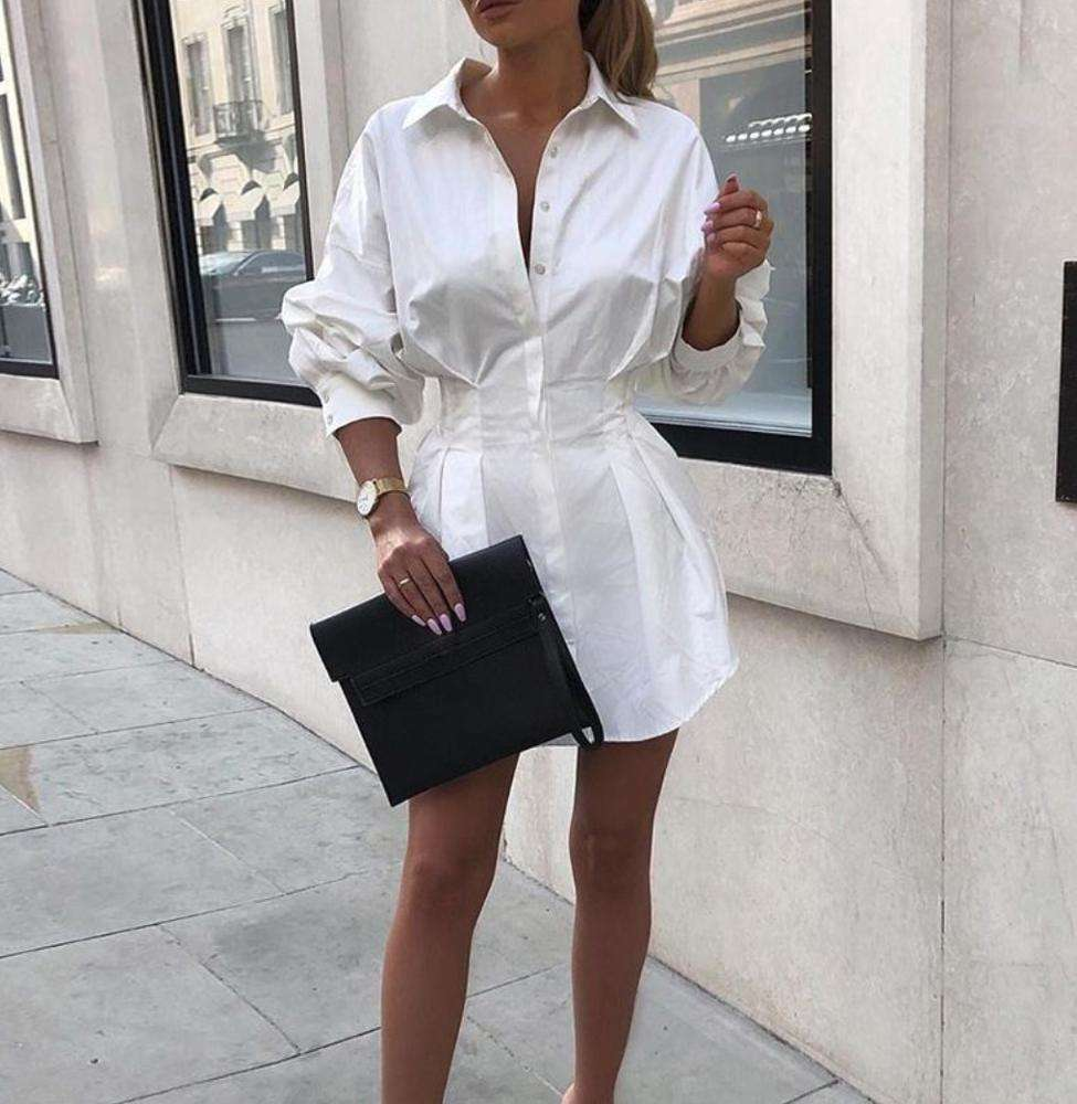 2020 Spring New Designs Women Button Down Dress Long Sleeve White Shirt Dress