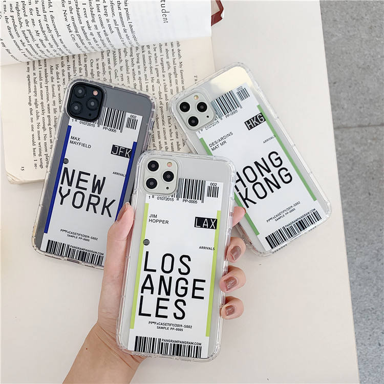For iphone case transparent soft creative air tickets phone case for iphone 11 pro