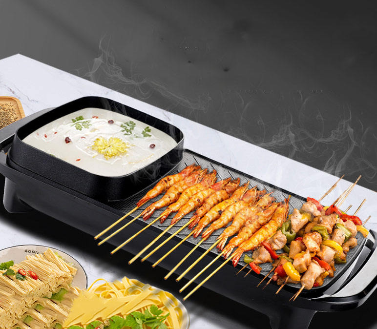 Zogifts Amazon Hot Sale Indoor Smokeless Portable Electric BBQ Grill Hot Pot Multi Function Nonstick Hot Pot And Grill Electric