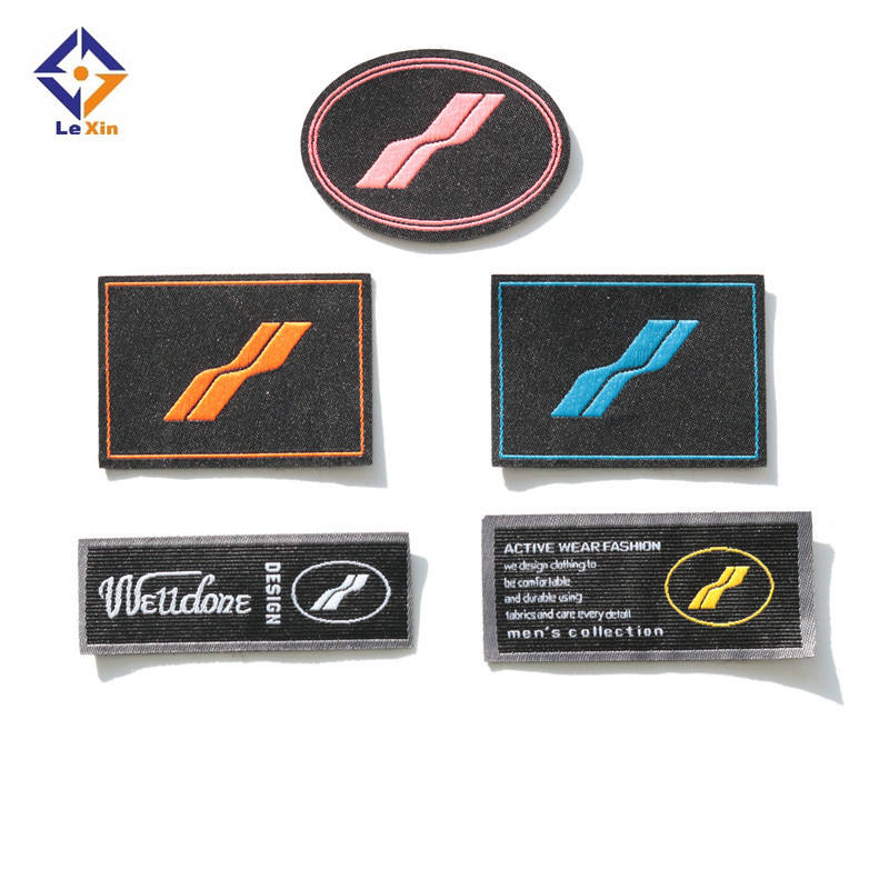 High density cheap weaving name garment custom woven label with logo for plain clothing labels
