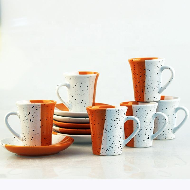 Colorful ceramic coffee cup with saucer for cappuccino/ Wholesale tea set 1 buyer