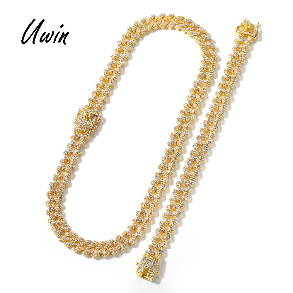 12mm Iced Out Zinc Alloy Necklace Bracelet Men Geometric Trendy Cheap Hiphop Jewelry Miami Gold Color Link Chain Necklace