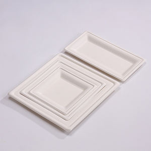 environmental biodegradable unbleached bagasse paper plate square plate