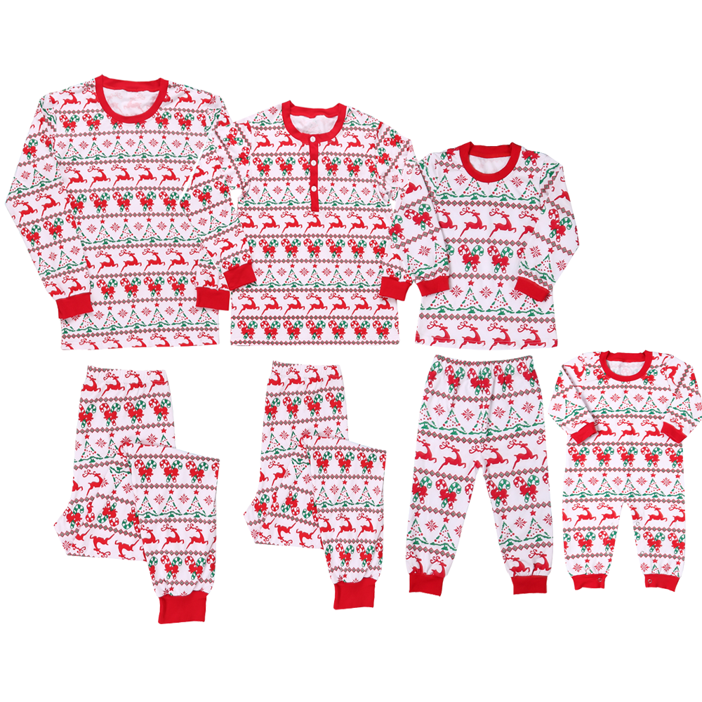 Boutique shop baumwolle muster <span class=keywords><strong>taste</strong></span> up langarm familie passenden kleidung Weihnachten pyjamas set