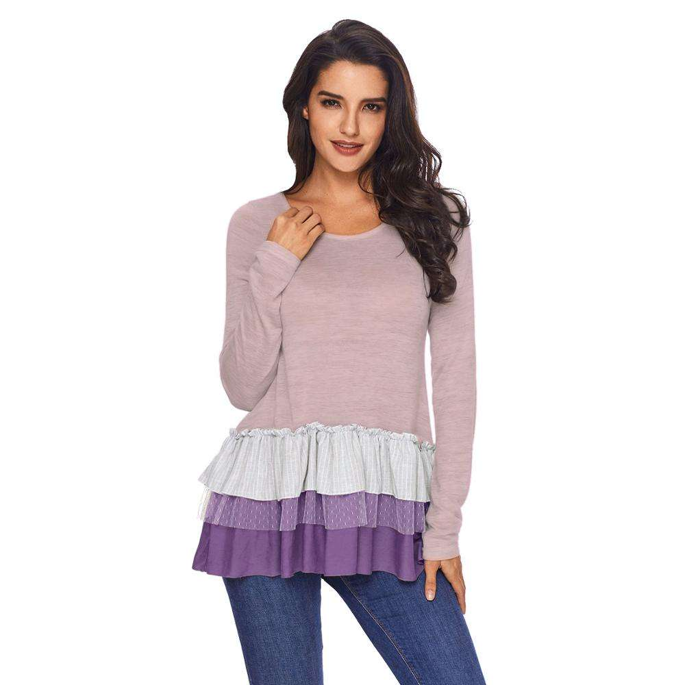 New Arrival Women Stripes Long Sleeve Lace Ruffle Tunic Top