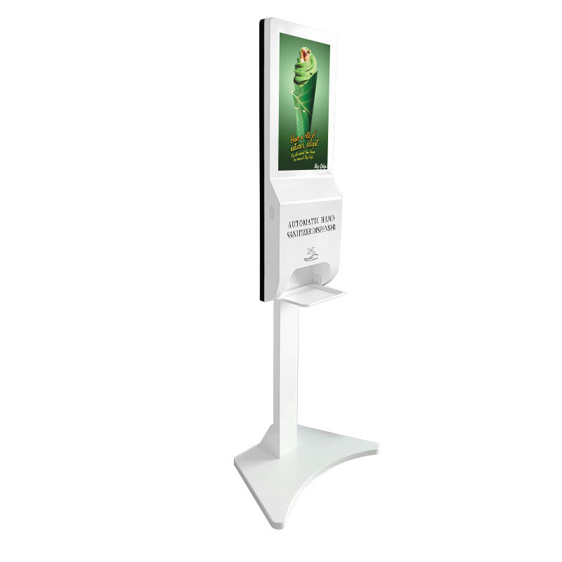 21.5 Inch Android Digital Signage Met Auto Handdesinfecterende Dispenser Lcd Reclame Kiosk