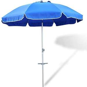 2.4M Portable UV 50+ Protection Beach Umbrella with Tilt Steel Pole, Beach Umbrella Sand Anchor with Carry Bag, Yellow/Blue