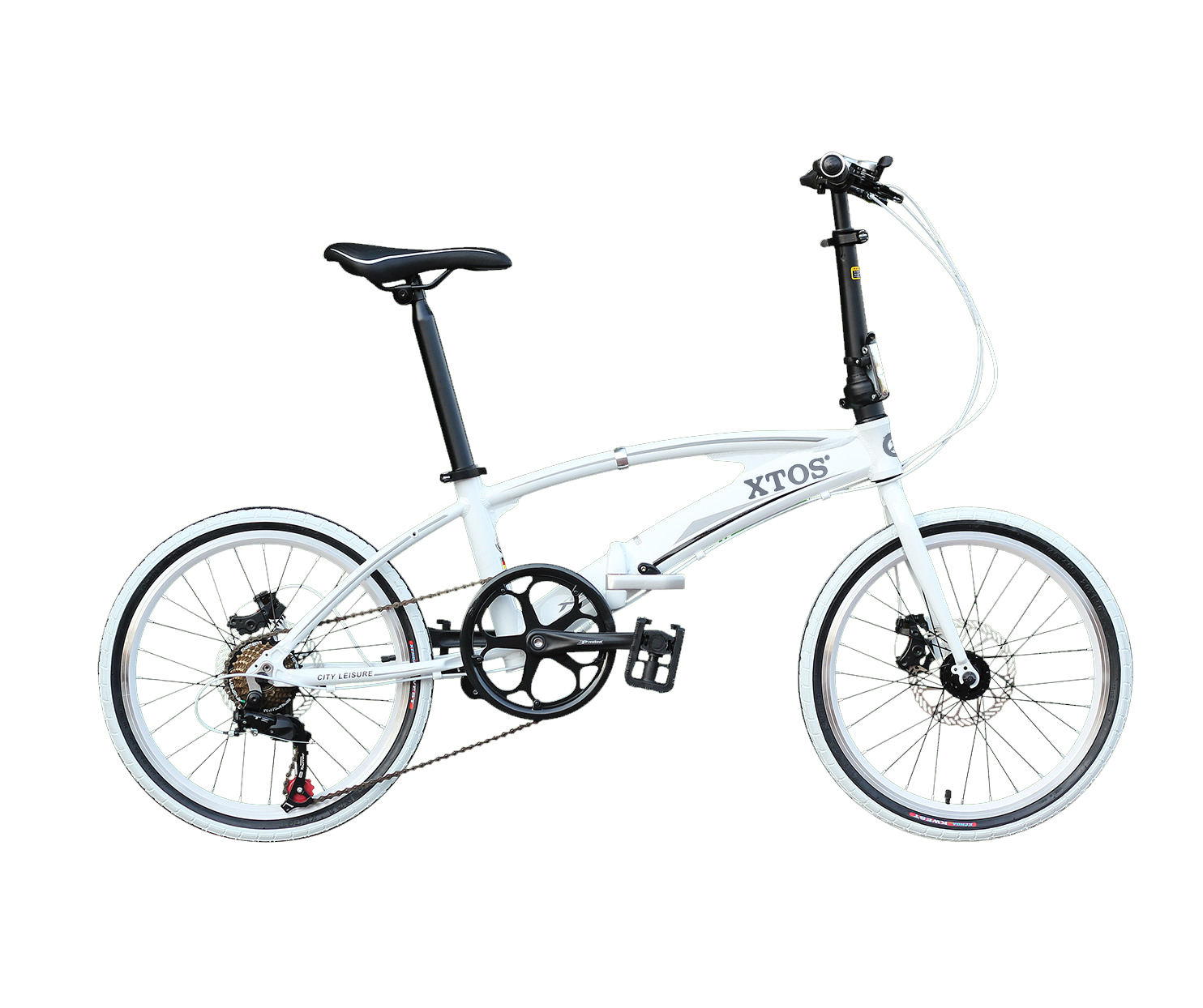 XTOS 20/22 inch aluminum alloy Double tube folding bicycle Shimano 7speed transmission wholesale bicycle