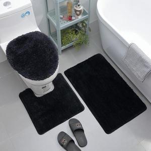 Microfibre bathroom rugs and mats sets machine washable