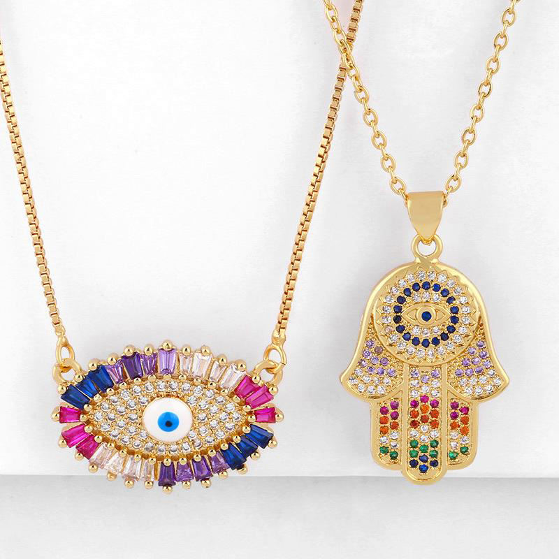 Africa 18K Gold Colorful Zirconia Cuban Link New accessories Evil Eyes Necklace Jewelry For Holiday Dylam jewelry